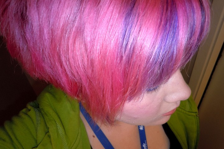 Purple And Pink Hair Highlights Hot pink hair with purple