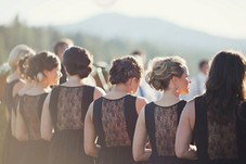 Bridal Party! Love the back of their dresses, just enhances the beauty of their hair.