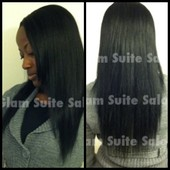 Sew-in (Unstyled) before pulling it up into a ponytail