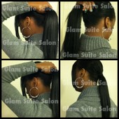 Sew-in weave in a high ponytail (Unstyled)