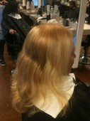 This was a bleach correction. The client and a friend bleached her hair at home.