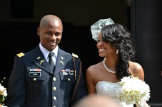 The bride's hair is extensions.  A full sew-in weave