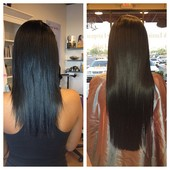 before and after picture of hair extensions