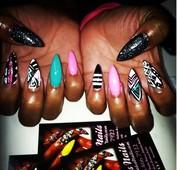 Stilettos w/ Free Hand & Tribal Art !!!