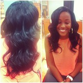 Partial sew in.