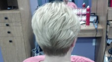 She wanted short, textured and feminine! Nothing blunt about this razor cut