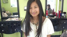 All one length was not cutting it for Maria! Long wispy layers that frame her face made her smile:)