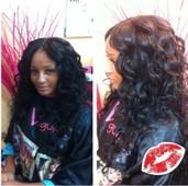 Fullhead (open) wand curls layered