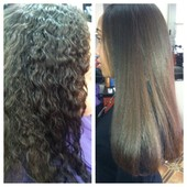 All natural client, Left photo is after shampoo & deep condition, Right photo is after Flat Iron & Trim.