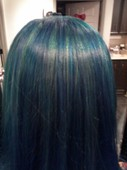 The back view of Kayla's mermaid hair