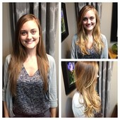 Before on the left. After: Haircut and Ombre' Balayage on the right.