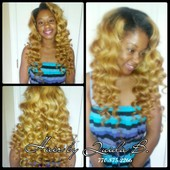 VIRGIN HAIR COLORED, PARTIAL SEW IN WITH WAND CURLS