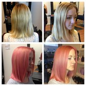 Before & After! Pale blonde to Pastel Pink.