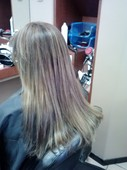 Color correction. Natural looking highlights on course dark hair.