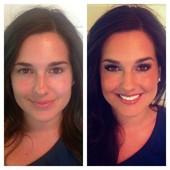 Airbrush makeup and false eyelash application