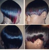 "CUTE & EDGY( RAZOR CUT) W/ A POP OF RED COLOUR. BY ""KIMBERLY"""