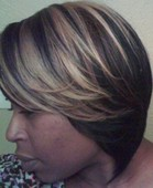 "Sew-In Layered Bob w/ Brown & Blonde Highlights.  By "" Kimberly"""