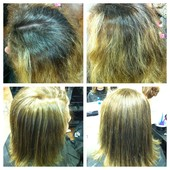 root retouch, full highlight, & haircut