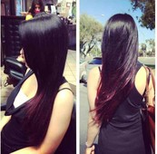 Fuschia Ombre with black color and layers cut