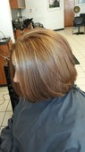 Base color light warm brown with apricot blonde highlight's, and red lowlights