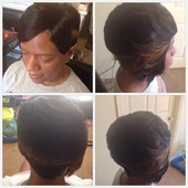 razor cut short 2 long quick weave w/ illusion part