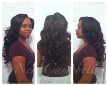 Peruvian body wave straightened and curled full sew-in