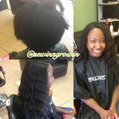 FULL SEW IN WITH LITTLE HAIR OUT