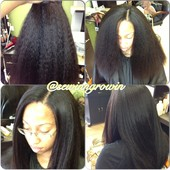FULL SEW IN WITH NATURAL LITTLE HAIR OUT