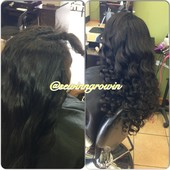 FULL SEW IN W/LITTLE HAIR OUT