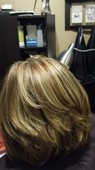 Warm brown with blonde highlights