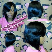 This is a Full Closure Quick weave bob with a feathered bang.