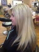 Side view blended blonde highlights
