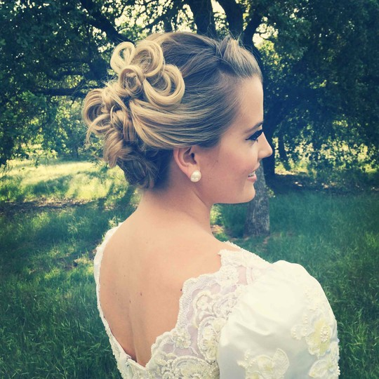 Bridal updo and makeup