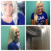 Tape in extensions. Platinum blonde