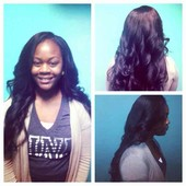 Three bundle sew in 22/24/26 natural wave flat ironed and curled