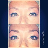 Eyebrows threaded. Before and after pic of brow tint. Middle brown