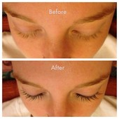 Lash tint before and after.  No makeup, just a natural dye that lasts for weeks.