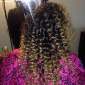 Traditional sew-in weave w/tight wand curls