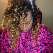 Traditional sew-in w/ tight wand curls