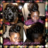 Braided protective style updo