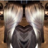 Titanium! This is a 3 process color on Russian Blonde extensions and closure. This type of color will change your life!