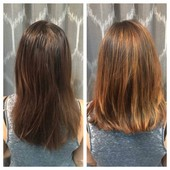 Before and after full balayage