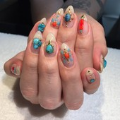 Coral Turquiose Jewelry Nails