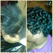 Natural hair pressed and pin curled