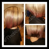 Pink ombre on aline haircut