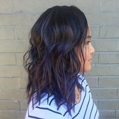 haircut and smoky amethyst highlights