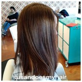 Lob haircut with chocolate hair color and some balayage.