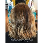 Balayage/Ombre with lob haircut.