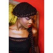 Sisterlocs Revamped w/Goddess Braids,  Hair: Debra Hare-Bey, Red Room Luxe Salon @ OMhh, Makeup: Amber-Jade E. Hare-Bey, Model: Taiesha Abrams, Photo: Nay Marie Photography, Location: The OMhh Store Bench