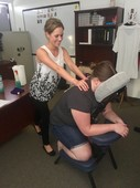 Chair massage at a local business